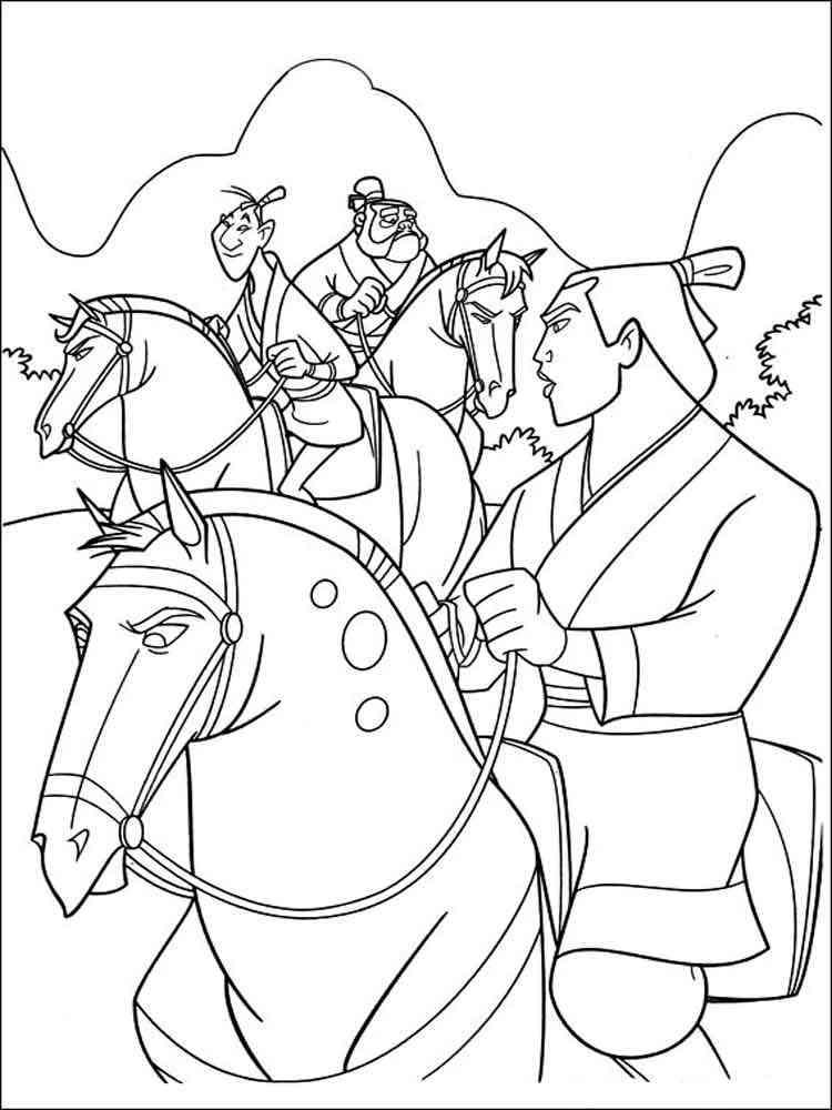Mulan coloring pages. Download and print Mulan coloring pages