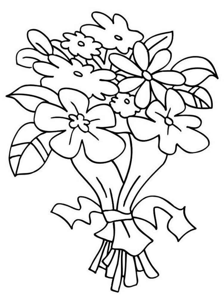 Flower Bouquet Coloring Page 1