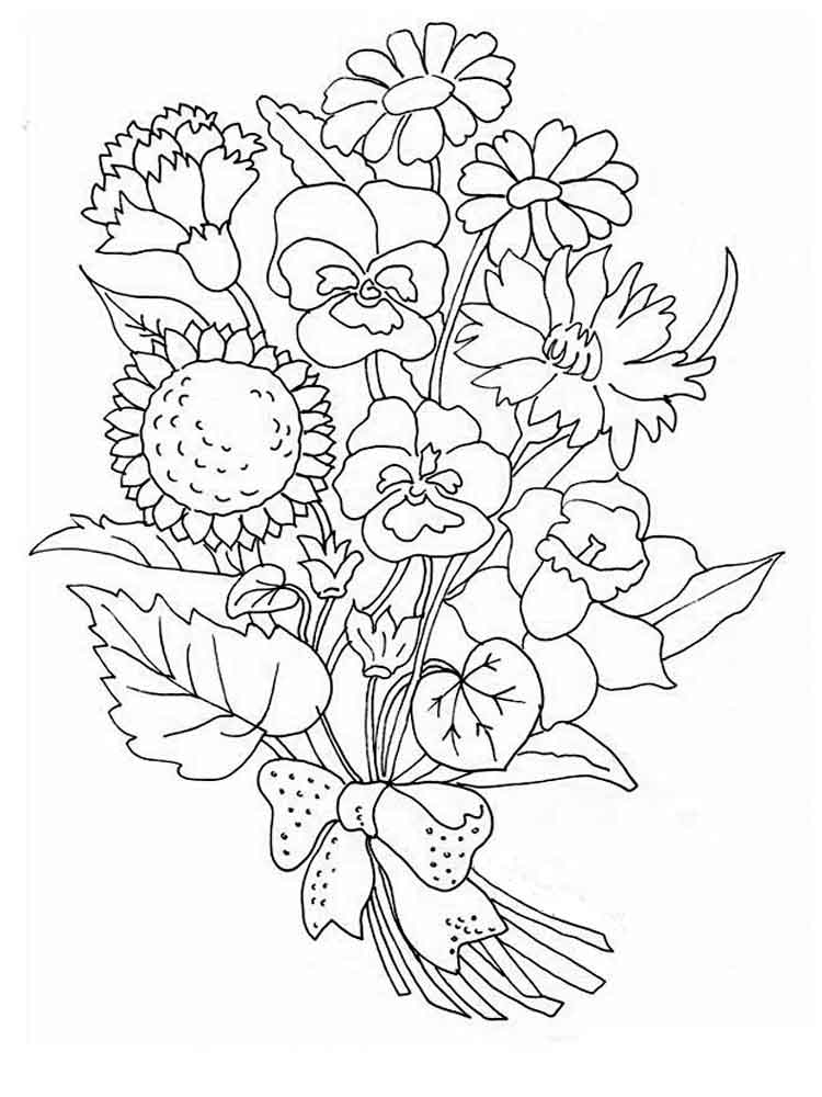 Flower Bouquet Coloring Pages Download And Print Flower Bouquet