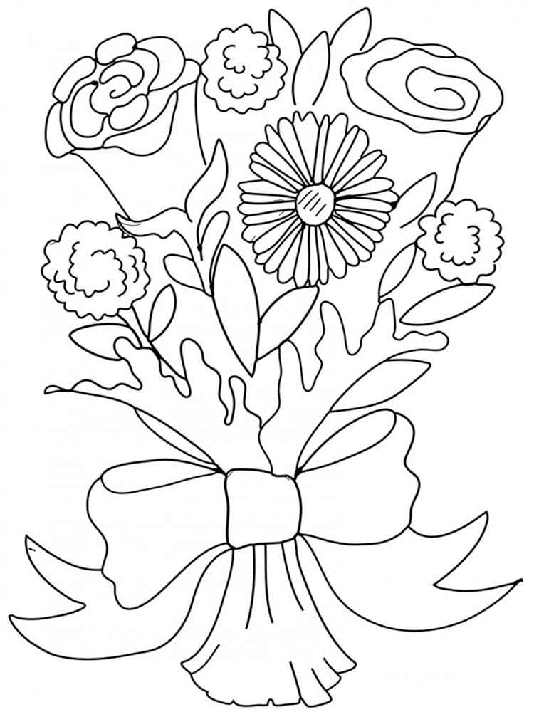 Wedding Flower Line Drawing : Flower bouquet coloring pages download and print