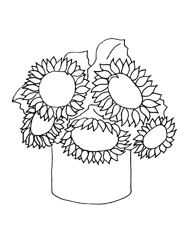 Sunflower coloring pages. Download and print Sunflower coloring pages