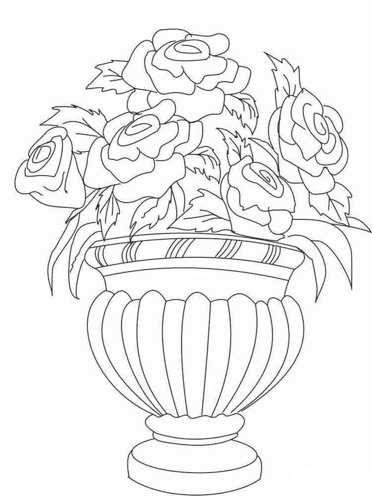 flower vase pictures to color - photo #10