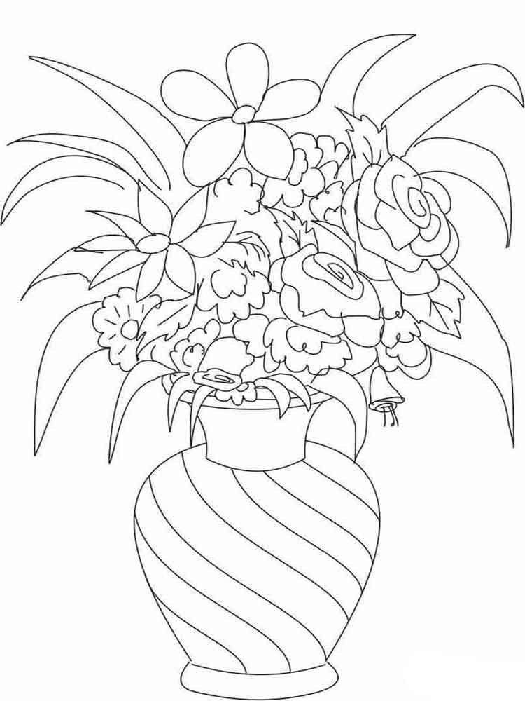 Flowers in a Vase coloring pages Download and print Flowers in a