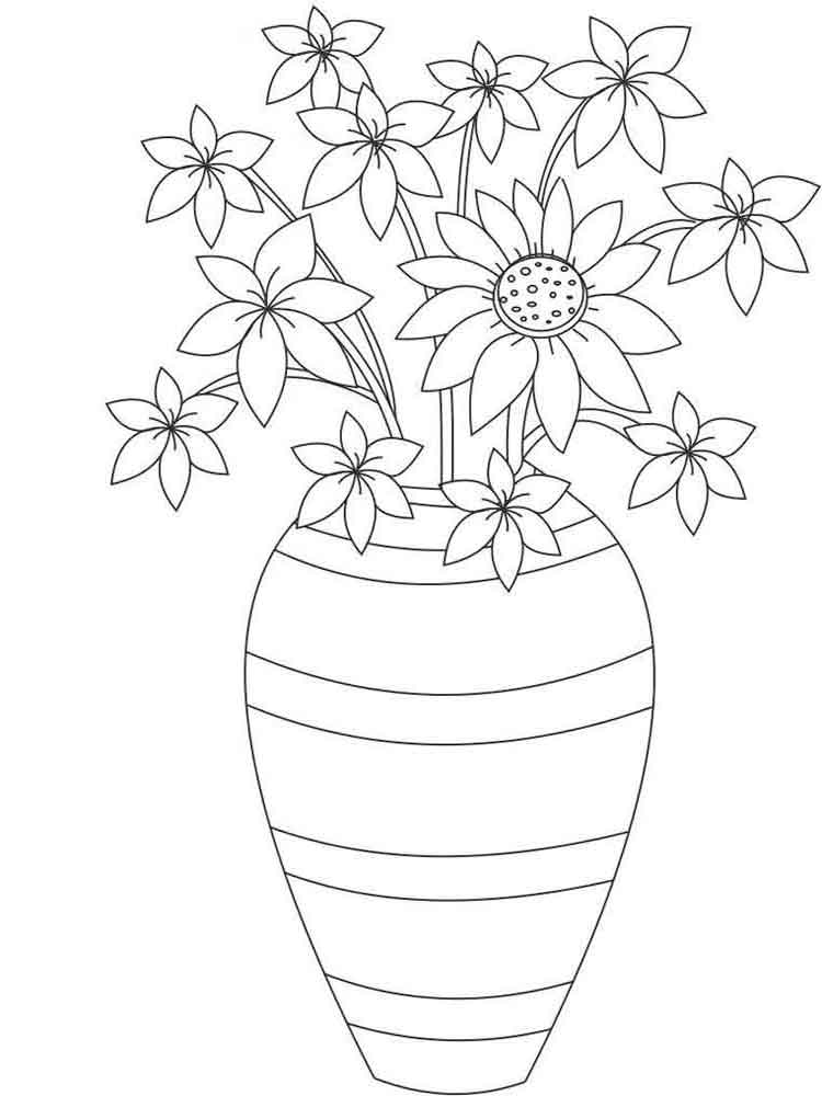 flower vase pictures to color - photo #37