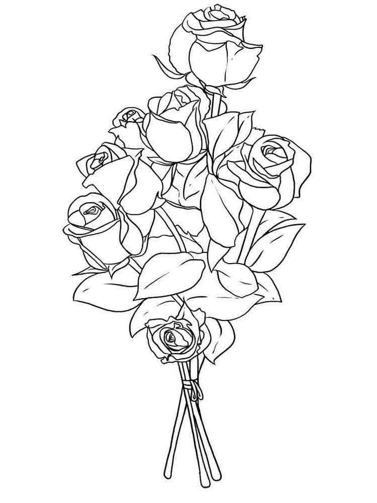 Раскраска букет из роз