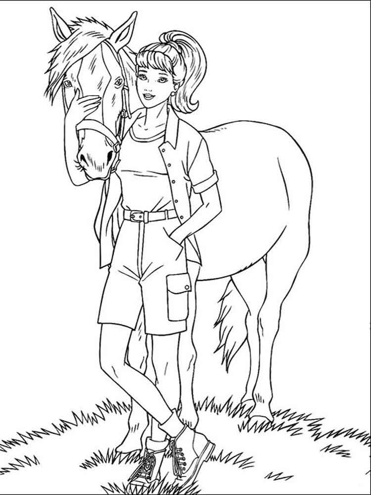 barbie and horse coloring pages free printable barbie and horse