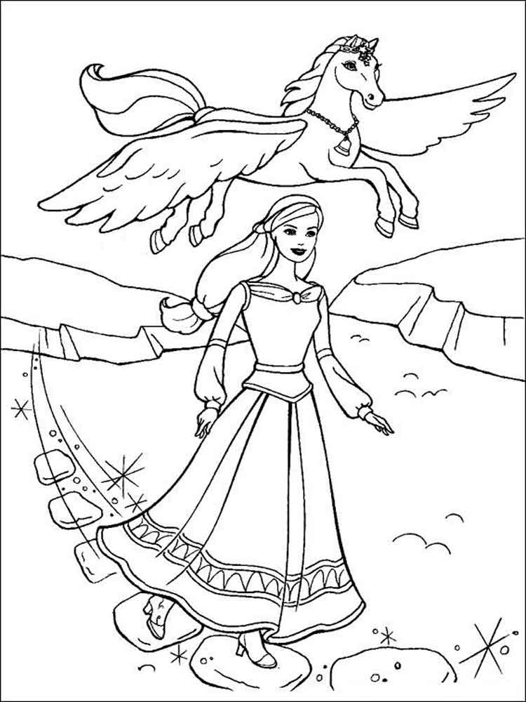 Barbie and Horse coloring pages Free Printable Barbie and