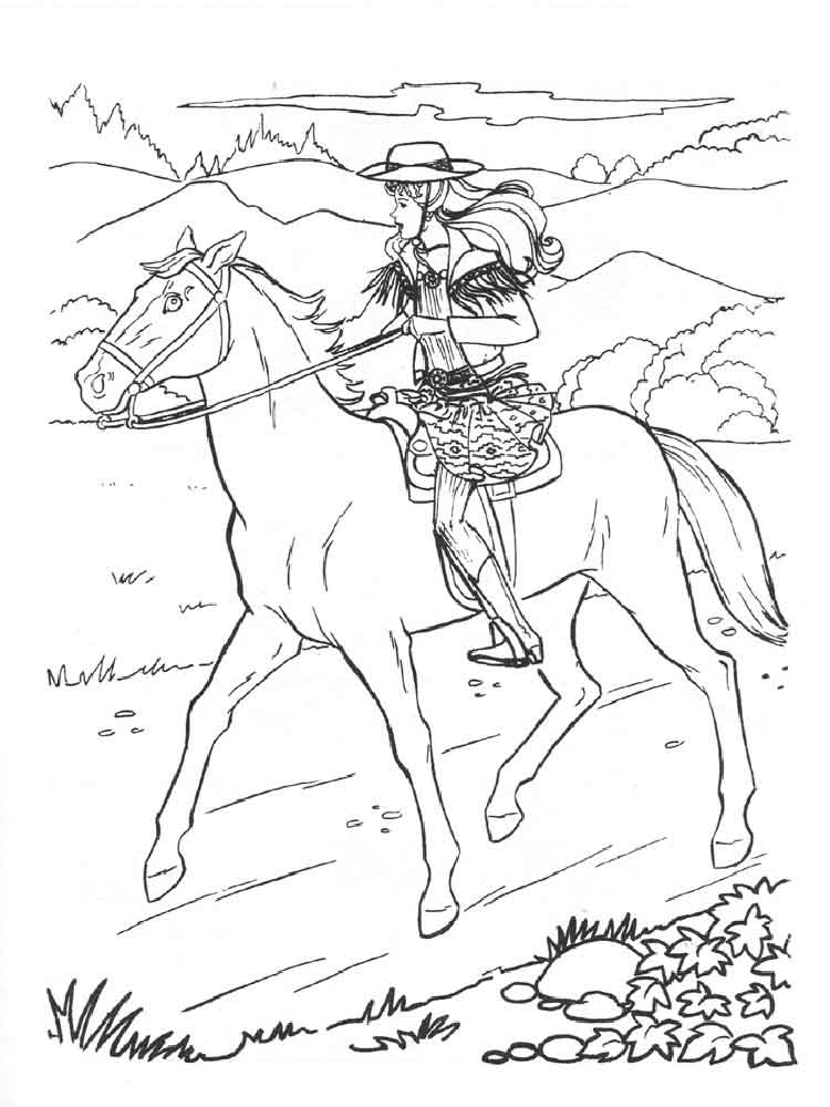 91 barbie with horse coloring pages barbie my