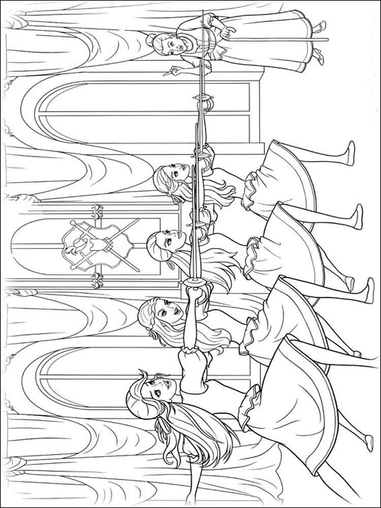 Barbie and the three Musketeers coloring pages Free