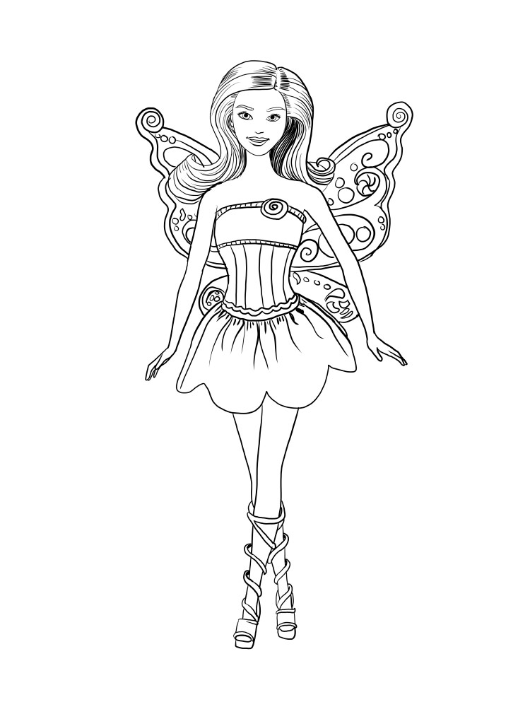 Barbie Fairy coloring pages. Download and print Barbie ...