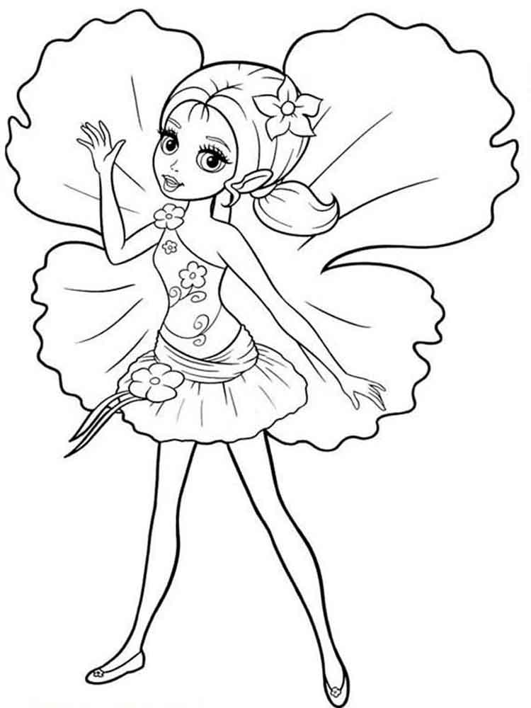 Barbie Thumbelina Coloring Pages Free Printable Barbie