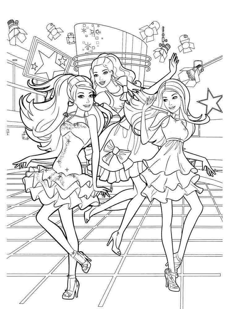 Распечатать раскраска для девочек барби