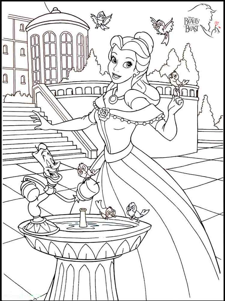 87 Beauty And The Beast Rose Coloring Pages