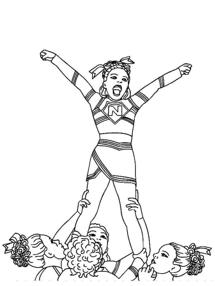 Cheerleader coloring pages free printable cheerleader for Printable cheerleading coloring pages