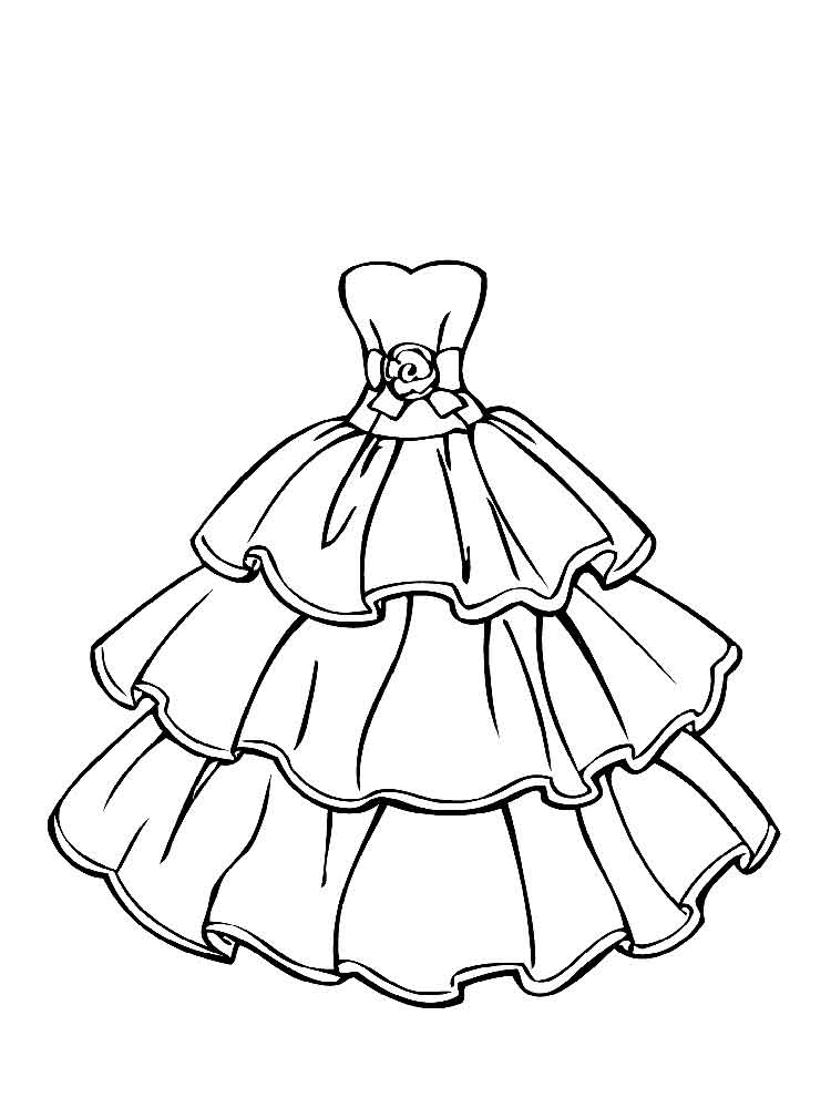 Wedding Dress Coloring Pages Girl Free Printable For Kids Animals ... | 1000x750
