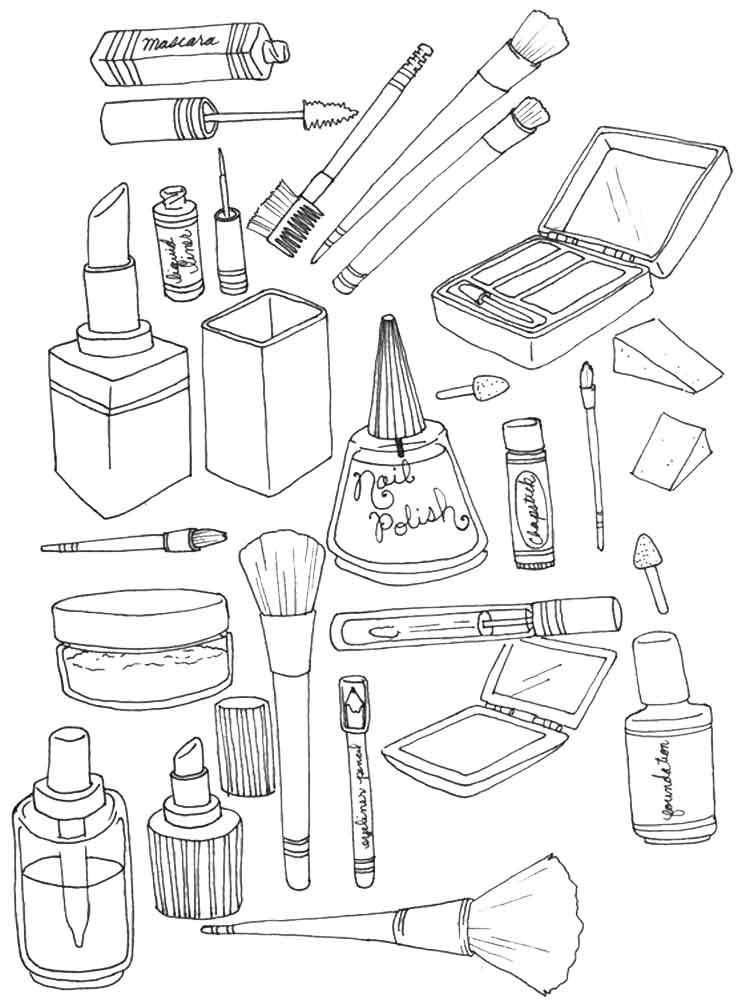 Makeup coloring pages Free Printable Makeup coloring pages