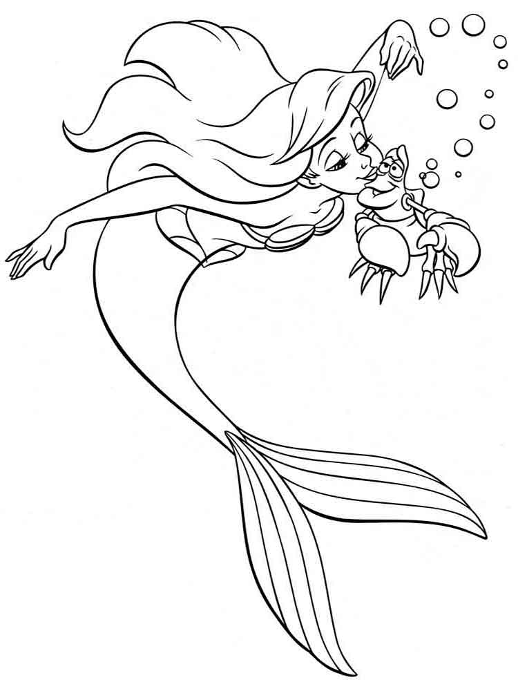 mermaid coloring pages 11 - Disney Princess Ariel Color Pages