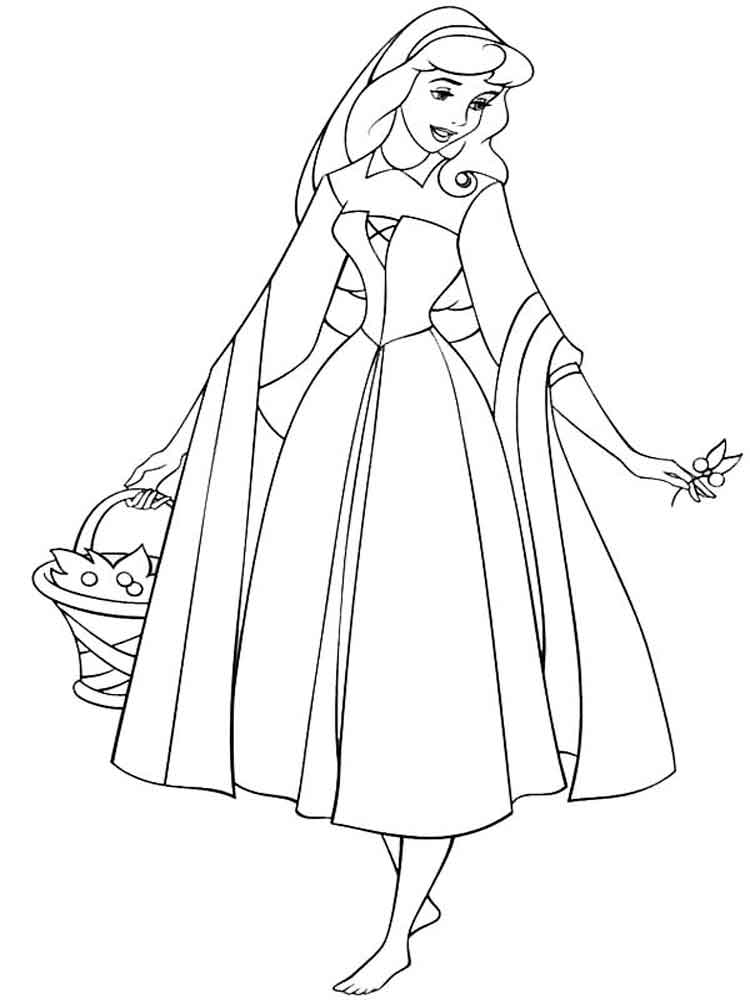 Princess Aurora Coloring Pages Free Printable Princess
