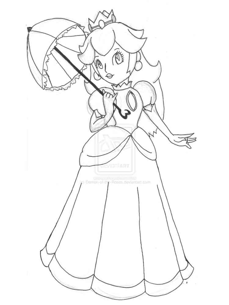 Princess Peach Coloring Pages Free Printable Princess
