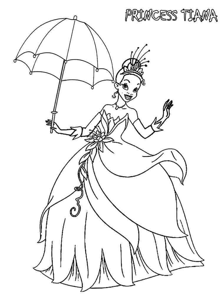 Princess tiana coloring pages free printable princess for Tiana coloring pages