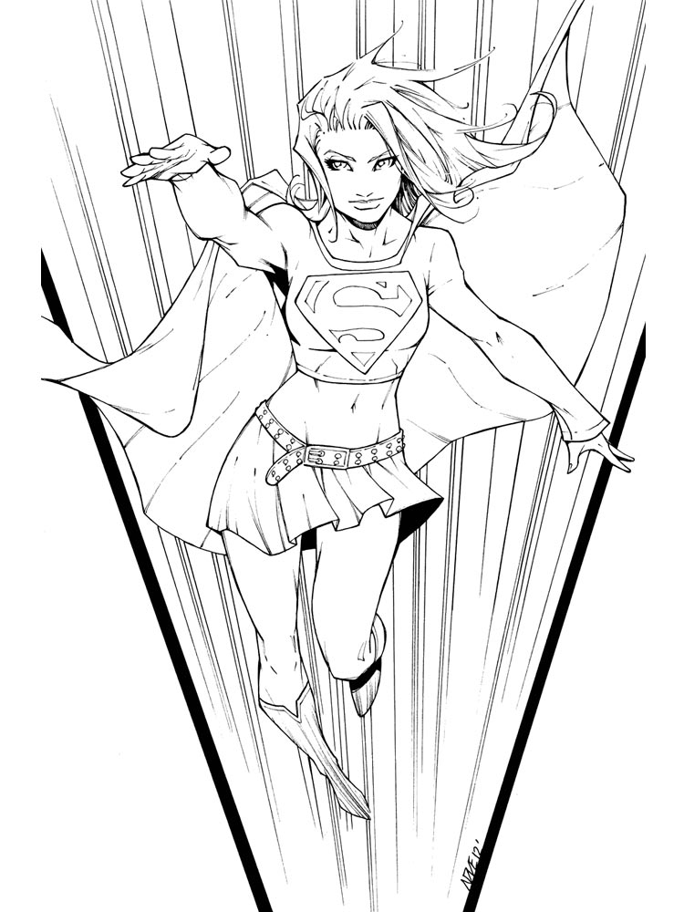 Supergirl coloring pages free printable supergirl for Supergirl coloring page