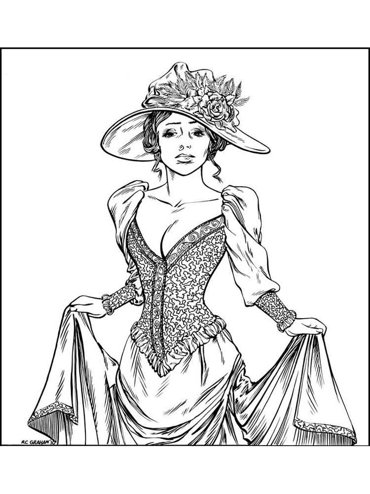 Victorian woman coloring pages free printable victorian for Woman coloring page