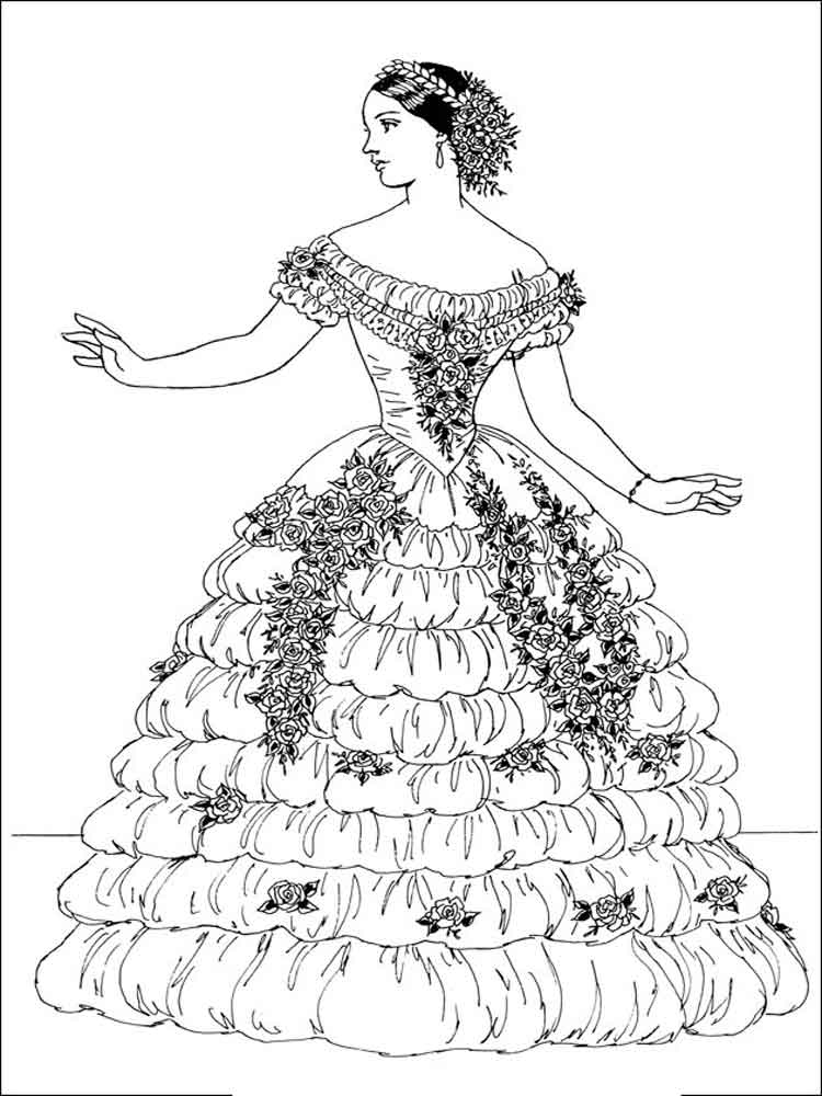 Victorian Woman Coloring Pages Free Printable Victorian