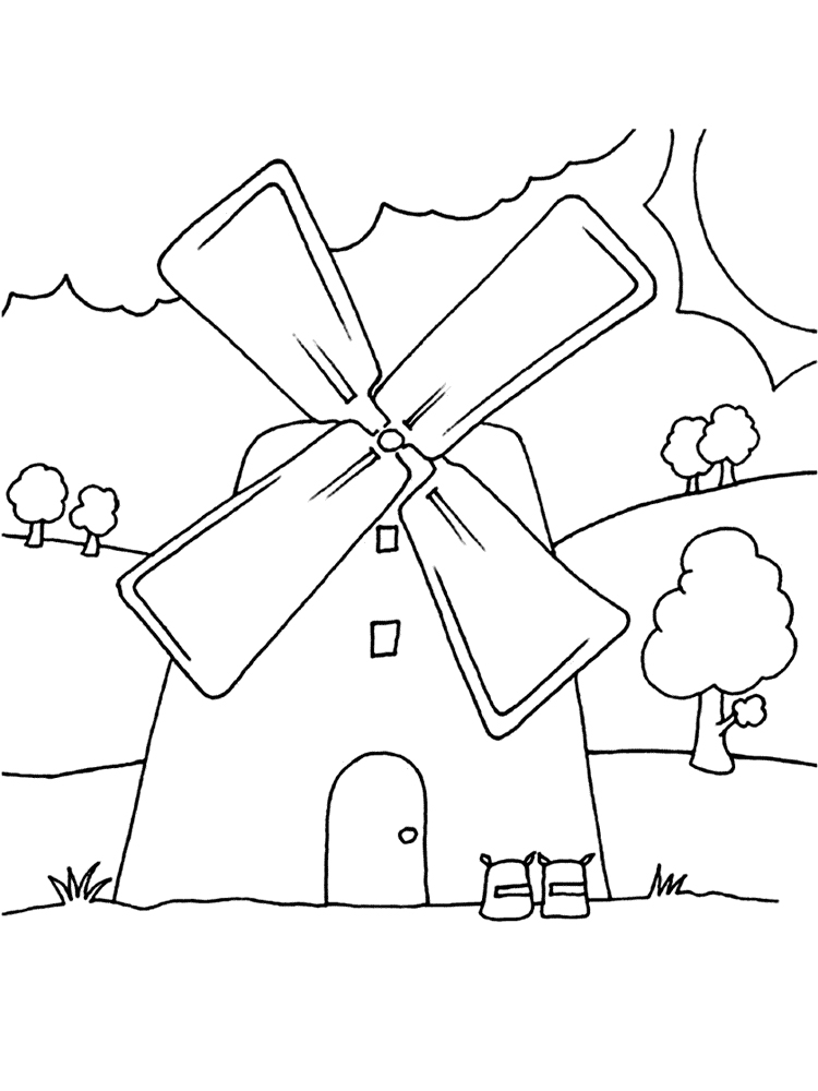 windmill coloring pages free printable windmill coloring