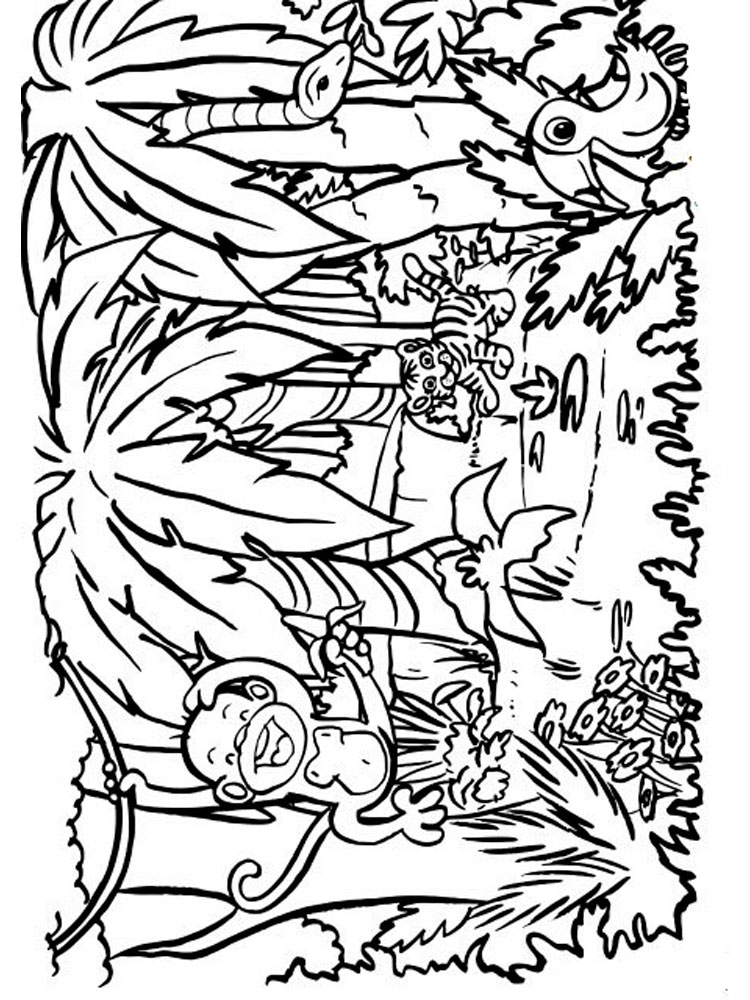 Jungle coloring pages. Download and print Jungle coloring ...